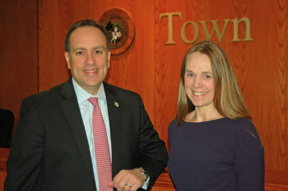 First Selectman Peter Tesei and Jenny Byxbee, head of the youth service bureau. The position has gone from being under the roof of the United Way of Greenwich to being a part of town government. Photo: Ken Borsuk / Hearst Connecticut Media / Greenwich Time