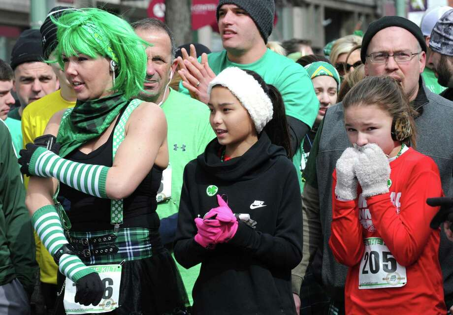 Runners line up for the start of the Collar City Kilt Fest run on Saturday March 5, 2016 in Troy, N.Y.  (Michael P. Farrell/Times Union) Photo: Michael P. Farrell / 10035167A