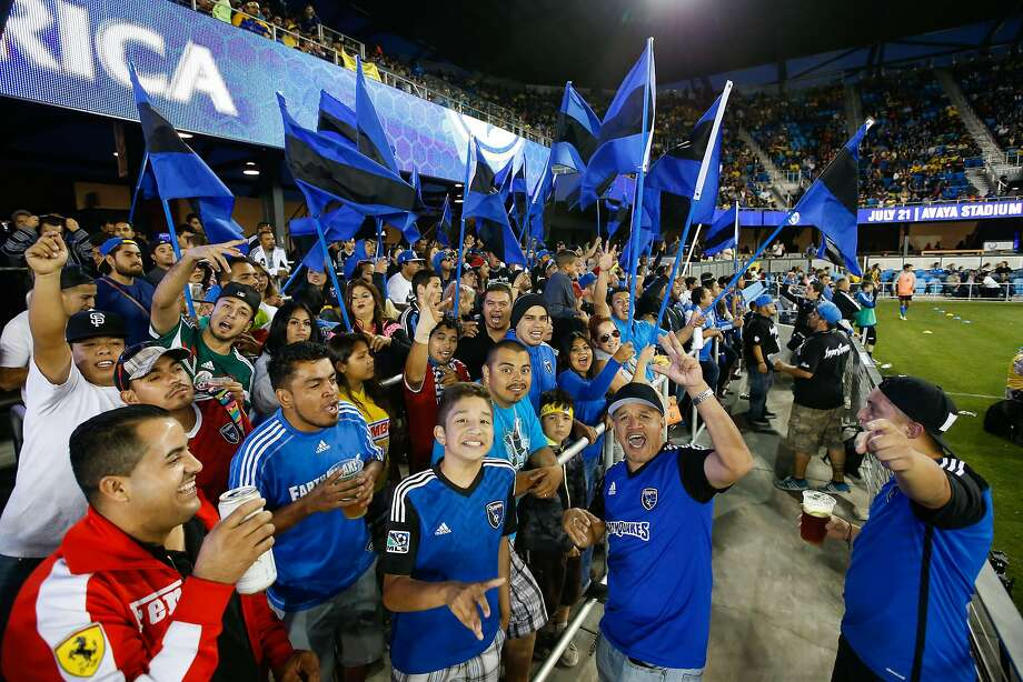 Bay Area fans show support for the Earthquakes during an International Champions Cup game last year at Avaya . Photo: Terrell Lloyd, Associated Press