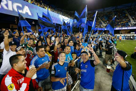 IMAGE DISTRIBUTED FOR RELEVENT SPORTS - San Jose Earthquakes fans show their support at Avaya Stadium in the second half of the International Champions Cup North America between the San Jose Earthquakes and visiting Club America, on Tuesday, July 14, 2015, in San Jose, California. The San Jose Earthquakes trailed Club America 1-2 in the second half. (Terrell Lloyd/AP Images for Relevent Sports)