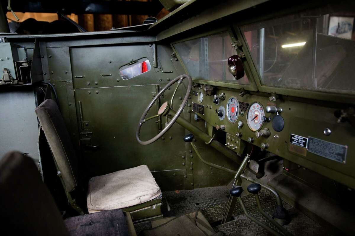 The inside of a 1945 White Half-Track military vehicle that reportedly sold to Paul Allen at an estate sale filled with World War II era goods, in Greenlake on Saturday, March 5, 2016.