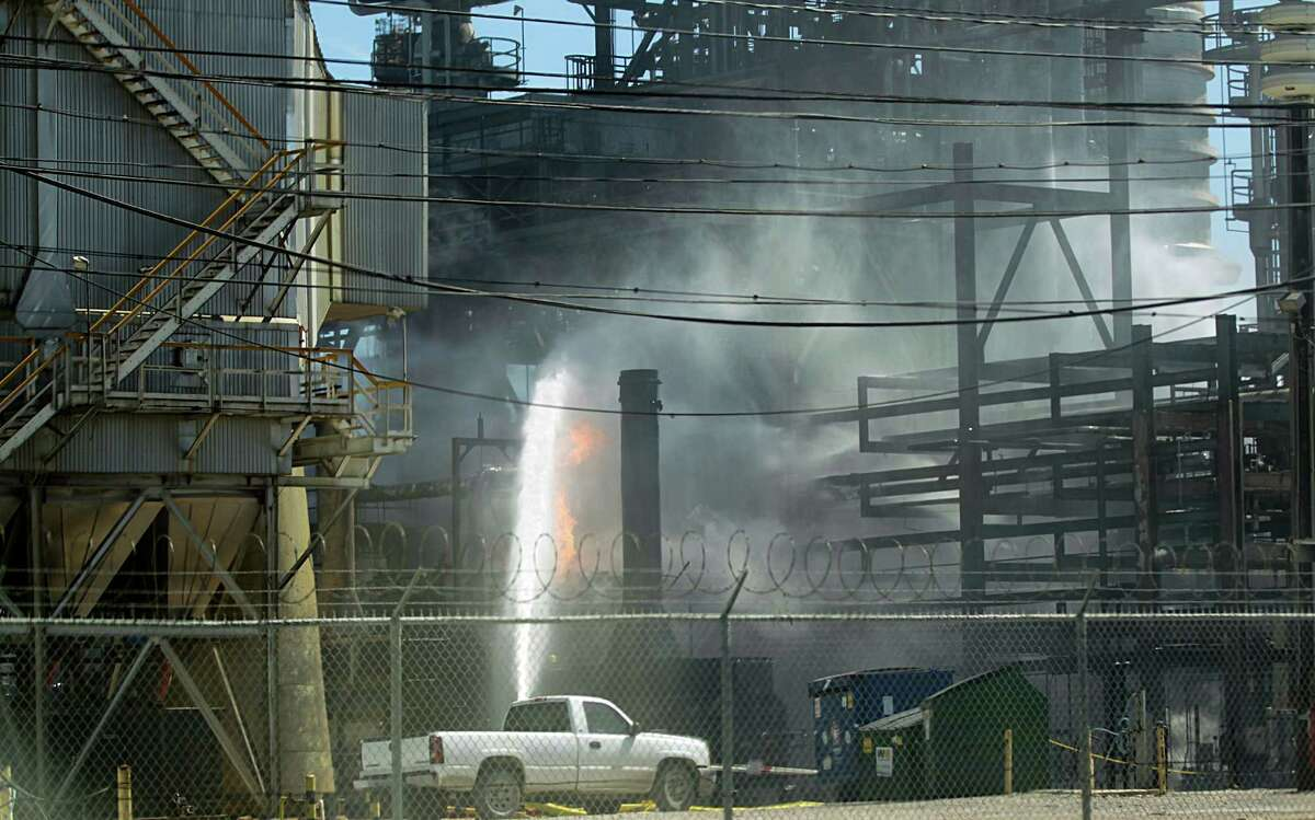 Emergency responders were called to a fire that injured one worker at the Pasadena Refining System plant near the Houston Ship Channel in March. The fire reportedly began when workers started a compressor. ( James Nielsen / Houston Chronicle )