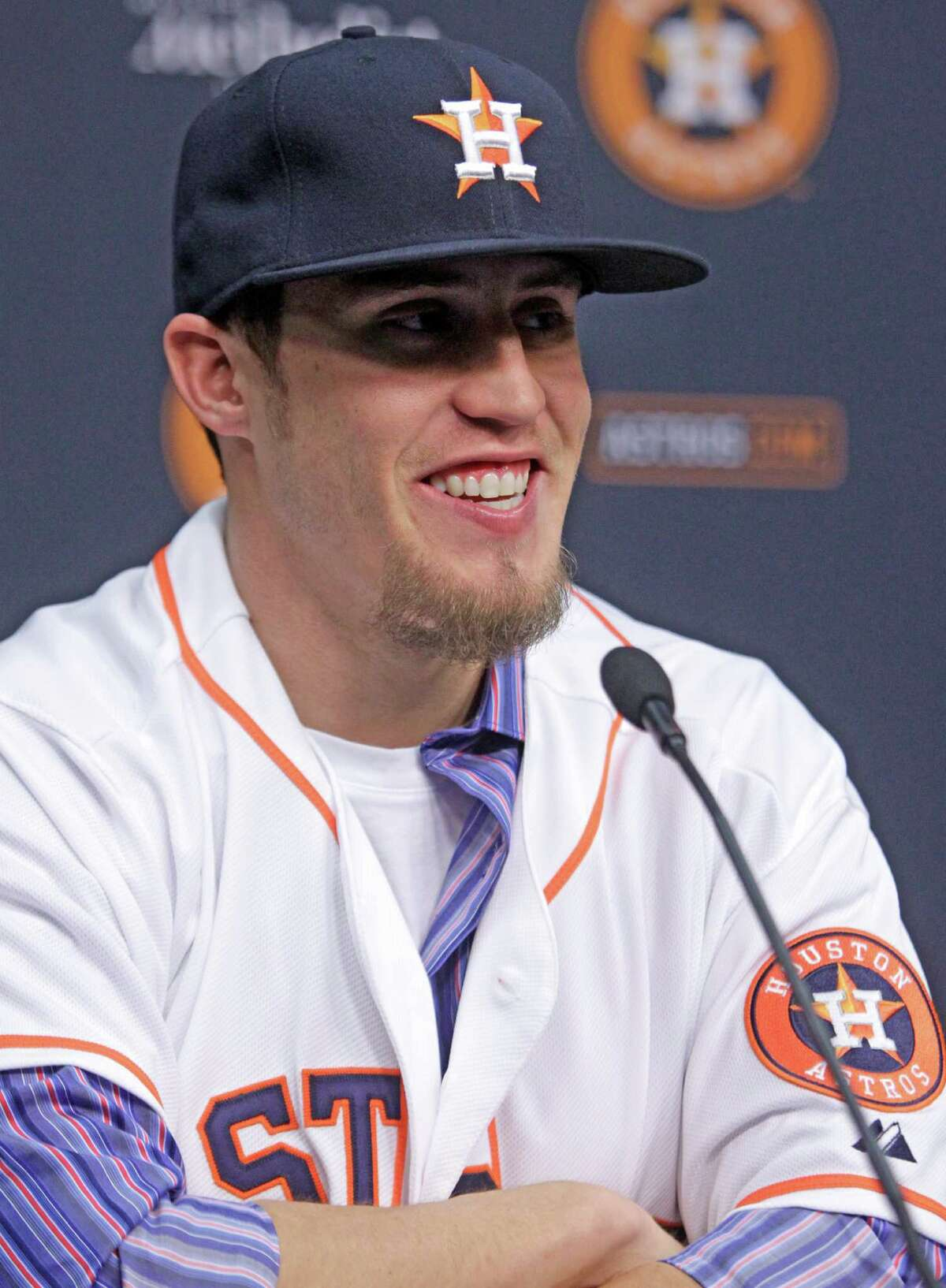 Houston Astros newly-acquired pitcher Ken Giles speaks during a news conference at Minute Maid Park Monday, Dec. 14, 2015, in Houston. ( Melissa Phillip / Houston Chronicle )