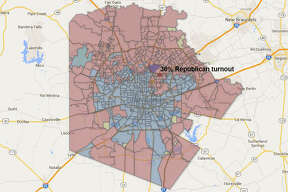 Precinct: 3049 Total ballots: 977  Republican turnout: 36% Democratic turnout: 12%