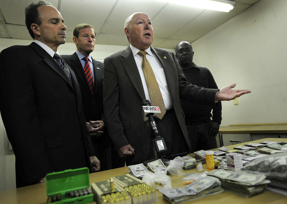 From left; Bridgeport Mayor Joe Ganim, Senator Richard Blumenthal, Police Chief Armando