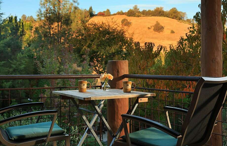 The view of the hills from a deck overlooking the Madrone Garden at the Eden Vale Inn, a luxury bed and breakfast in Placerville. Photo: Matthew Lovette, Eden Vale Inn