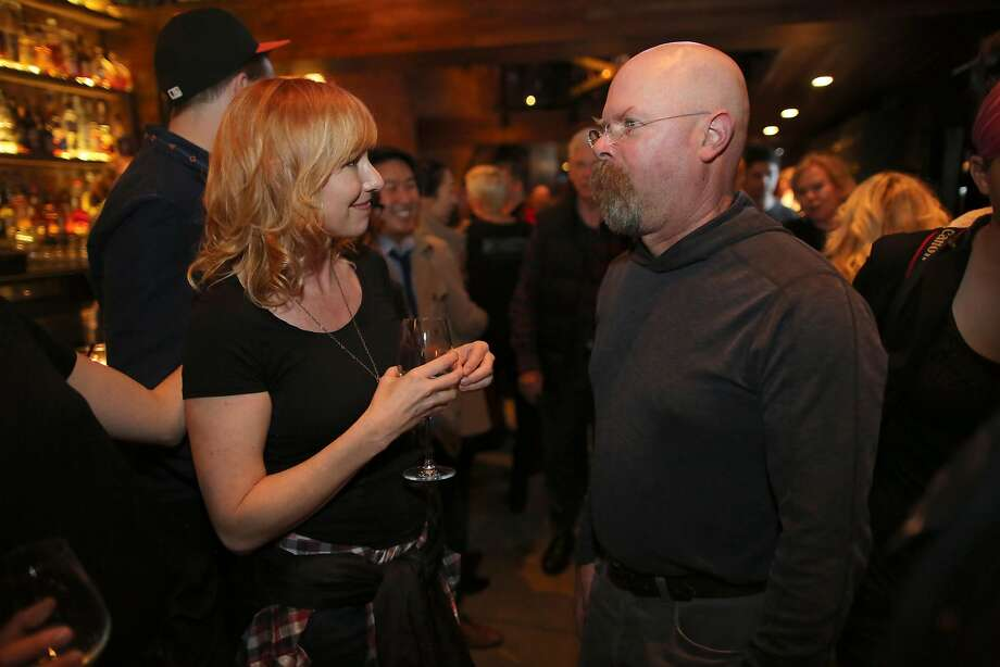 MythBusters host Jamie Hyneman, right, and former host Kari Byron attend the series finale party at the Forgery Bar in San Francisco, CA on Saturday, March 5, 2016. (Sammy Dallal / AP Images for Discovery Communications) Photo: Sammy Dallal, AP Images For Discovery Communications