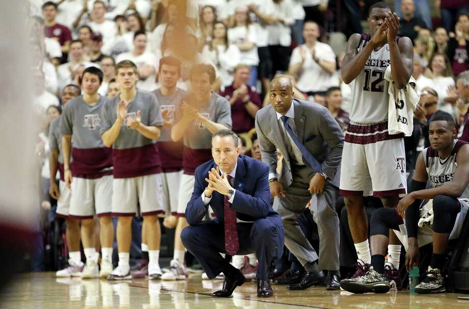 Texas A&M's head coach Billy Kennedy watches his team play against Vanderbilt during the second half of an NCAA college basketball game, Saturday, March 5, 2016, in College Station, Texas. Texas A&M won 76-67. Photo: Sam Craft, AP / FR145148 AP