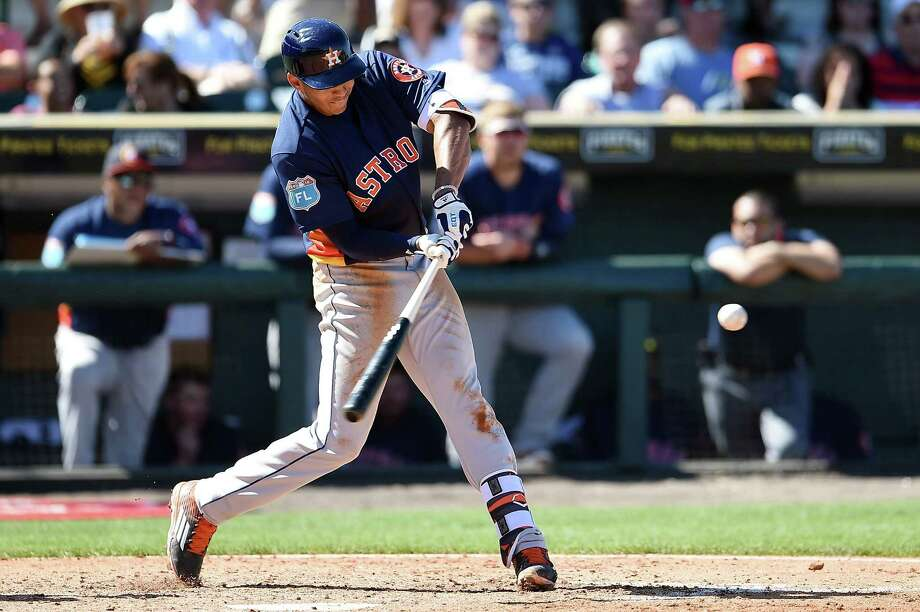 BRADENTON, FL - MARCH 06:  Carlos Correa #1 of the Houston Astros swings at a pitch during the fifth inning of a spring training game against the Pittsburgh Pirates at McKechnie Field on March 6, 2016 in Bradenton, Florida. Photo: Stacy Revere, Getty Images / 2016 Getty Images