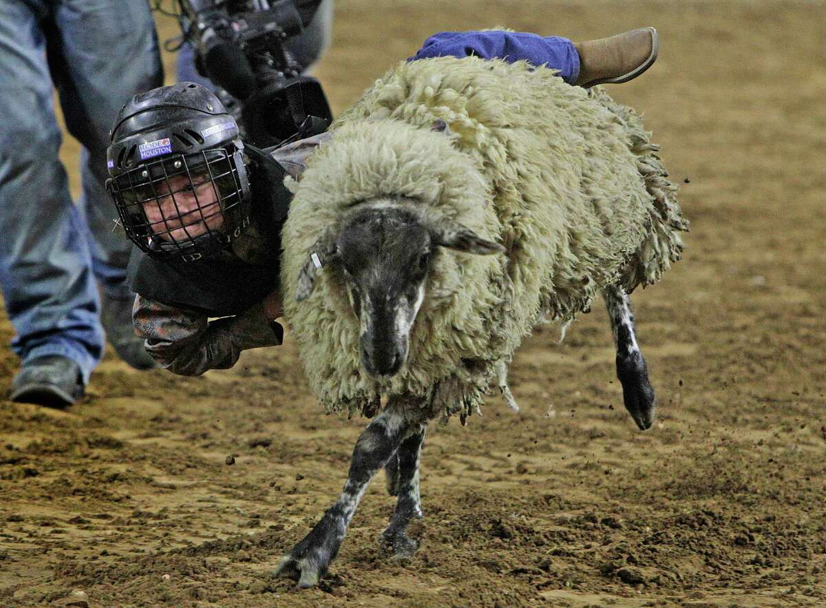 A youth performs in the Mutt Button Contest at the Houston Rodeo Sunday, March 6, 2016, in Houston.