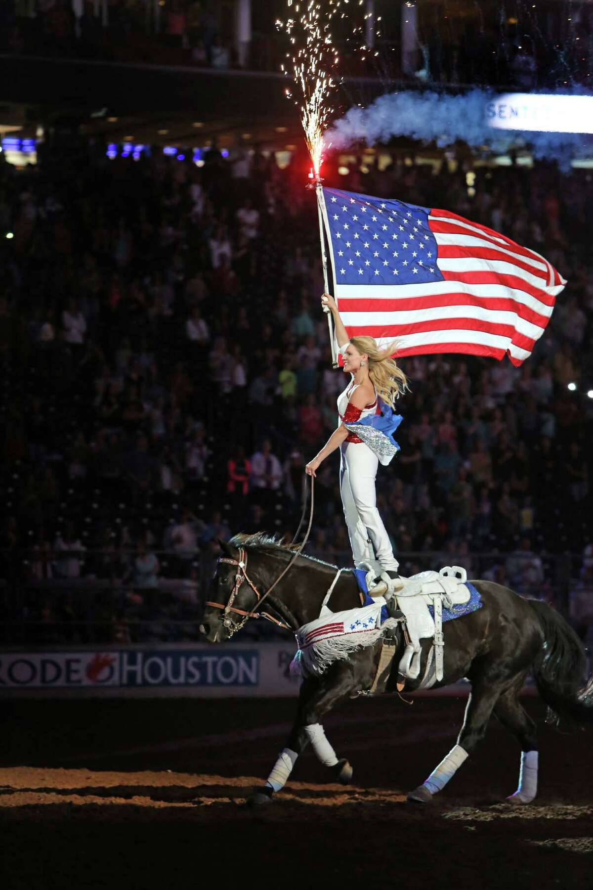 National Anthem was highlighted by the presentation of the American Flag at the Houston Rodeo Sunday, March 6, 2016, in Houston.