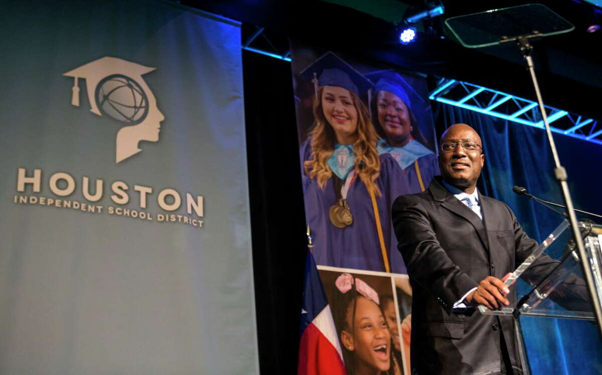 Kenneth Huewitt, interim superintendent of schools for the Houston Independent School District, speaks during the HISD State of The Schools event on Thursday, March 3, 2016, in Houston.