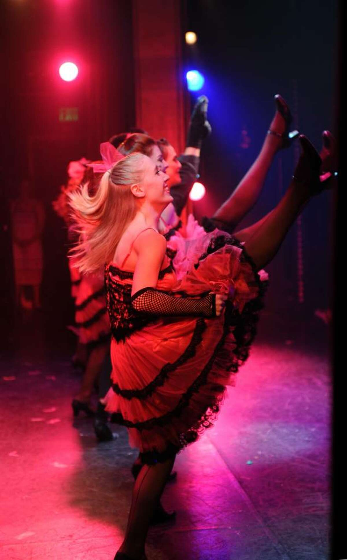 Showgirls high kick on stage during the production
