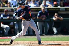 BRADENTON, FL - MARCH 06:  Jake Marisnick #6 of the Houston Astros swings at a pitch during the fifth inning of a spring training game against the Pittsburgh Pirates at McKechnie Field on March 6, 2016 in Bradenton, Florida.