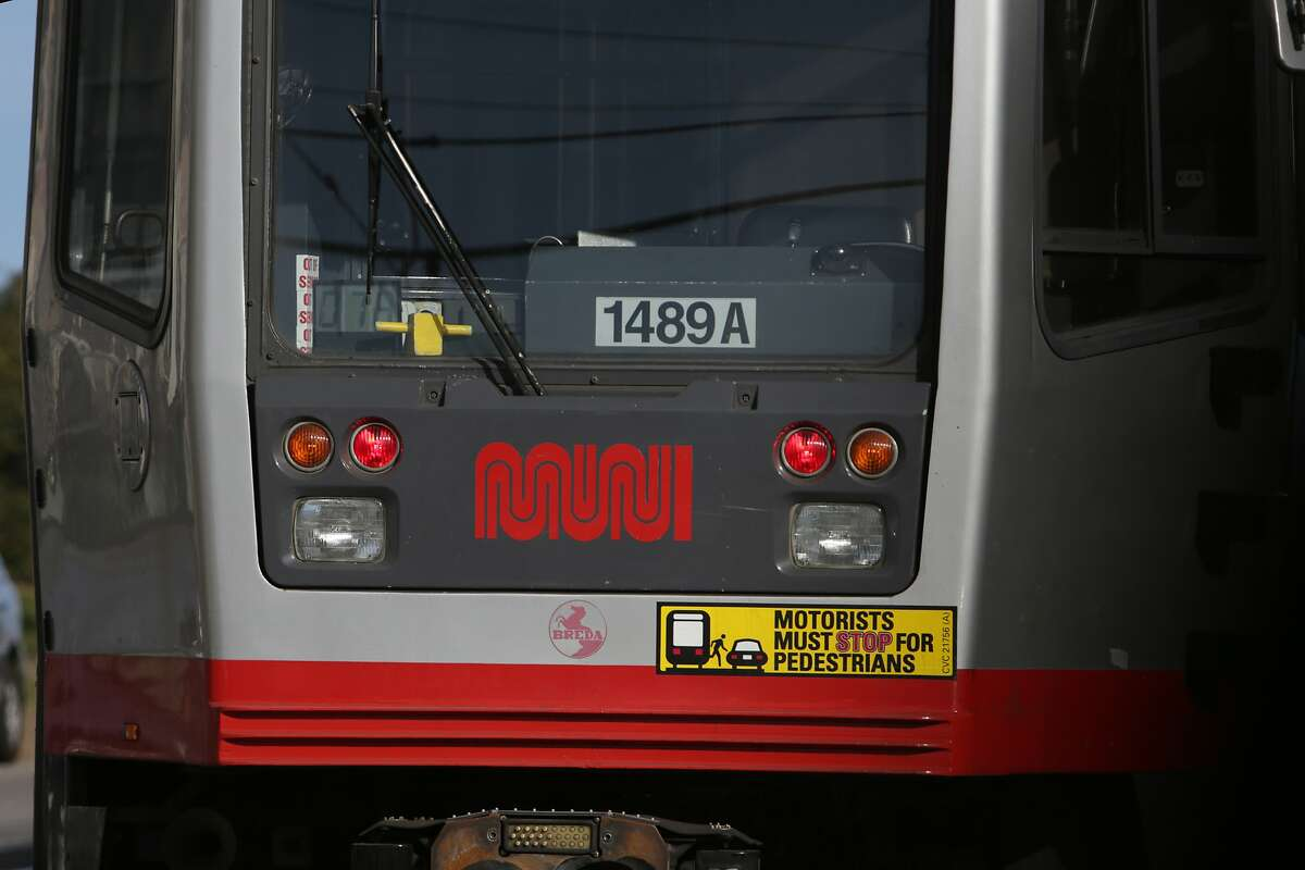 The logo on a MUNI train is seen on Thursday, October 22, 2015 in San Francisco, Calif.