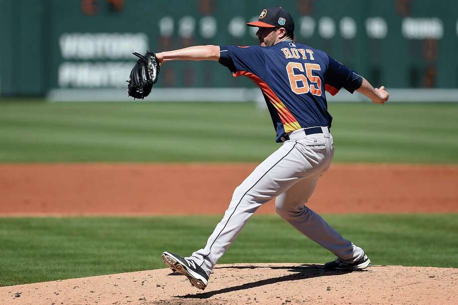 BRADENTON, FL - MARCH 06:  James Hoyt #65 of the Houston Astros throws a pitch during the second inning of a spring training game against the Pittsburgh Pirates at McKechnie Field on March 6, 2016 in Bradenton, Florida. Photo: Stacy Revere, Getty Images / 2016 Getty Images