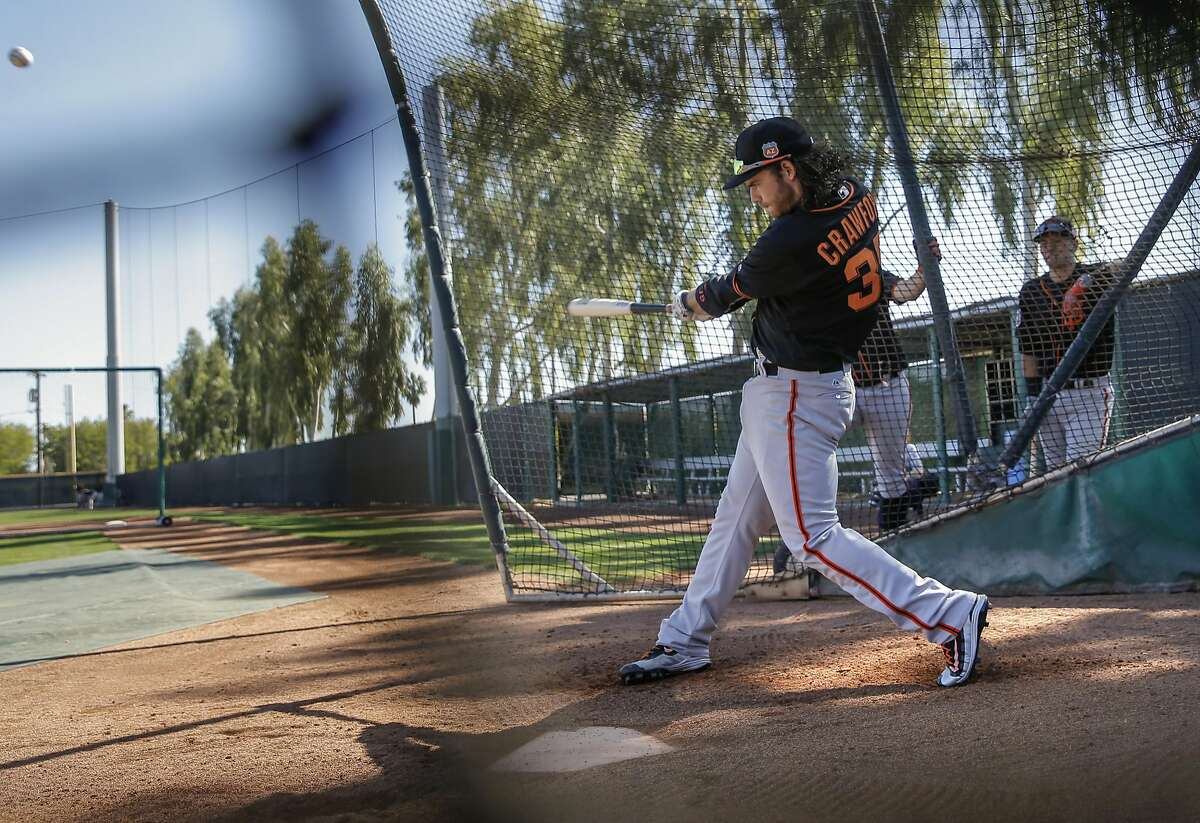 Brandon Crawford, 35 inside the batting cage during workouts at San Francisco Giants spring training as they prepare for the 2016 season, at Scottsdale Stadium on Friday February 26, 2016 in Scottsdale, Arizona.
