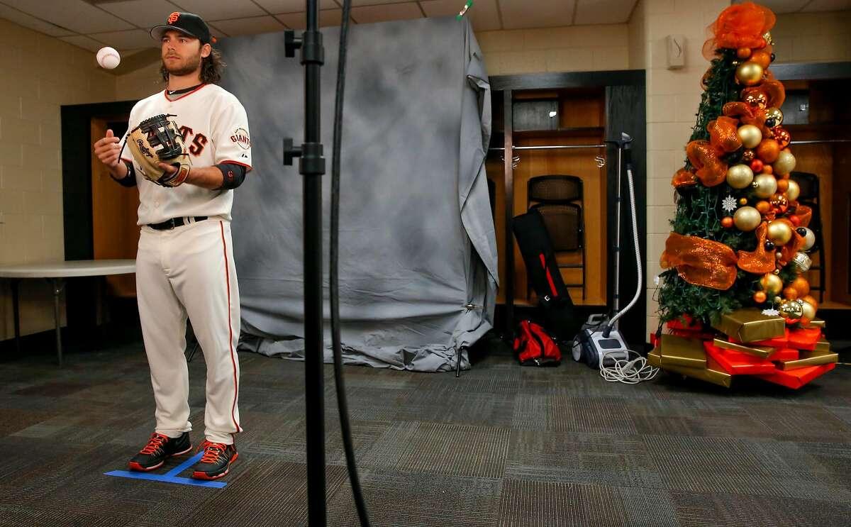 Brandon Crawford, 35 during media photo day for the San Francisco Giants at Scottsdale Stadium on Sunday February 28, 2016, in Scottsdale, Arizona.