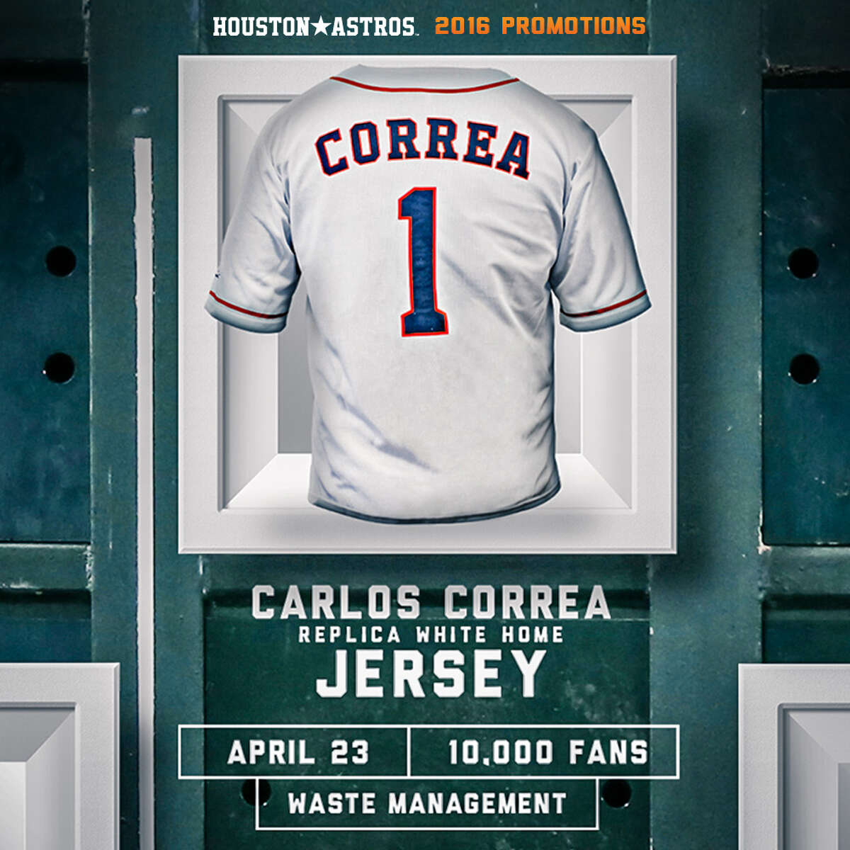 Carlos Correa Replica White Home Jersey  (Presented by Waste Management) Saturday, April 23 vs. Boston Red Sox First 10,000 fans
