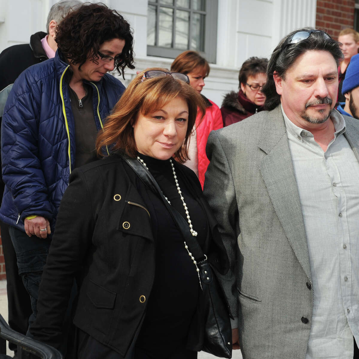 Maren Sanchez's mother, Donna Sanchez, leaves Milford Superior Court following an appearance by Christopher Plaskon, where he pleaded no contest in the 2014 murder of Marin, his classmate at Jonathan Law High School, in Milford.
