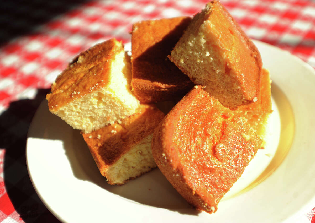 A plate of corn bread at the new Connecticut BBQ recently opened at 1450 Barnum Avenue in Bridgeport, Conn. on Wednesday, March 2, 2016.