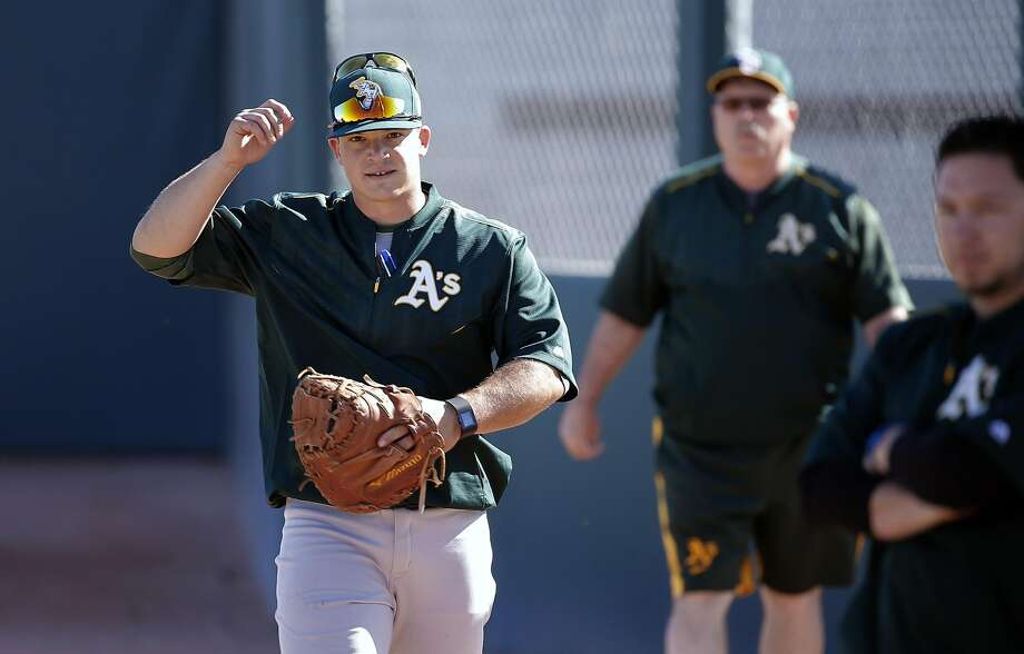 Bullpen catcher Phil Pohl, 88 (left) during spring training workouts for the Oakland Athletics at the Lew Wolff Training Complex in Mesa, Arizona on Thurs. February 25, 2016. Photo: Michael Macor, The Chronicle