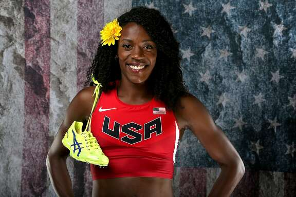 BEVERLY HILLS, CA - MARCH 07:  Sprinter Alysia Montano poses for a portrait at the 2016 Team USA Media Summit at The Beverly Hilton Hotel on March 7, 2016 in Beverly Hills, California.  (Photo by Sean M. Haffey/Getty Images)