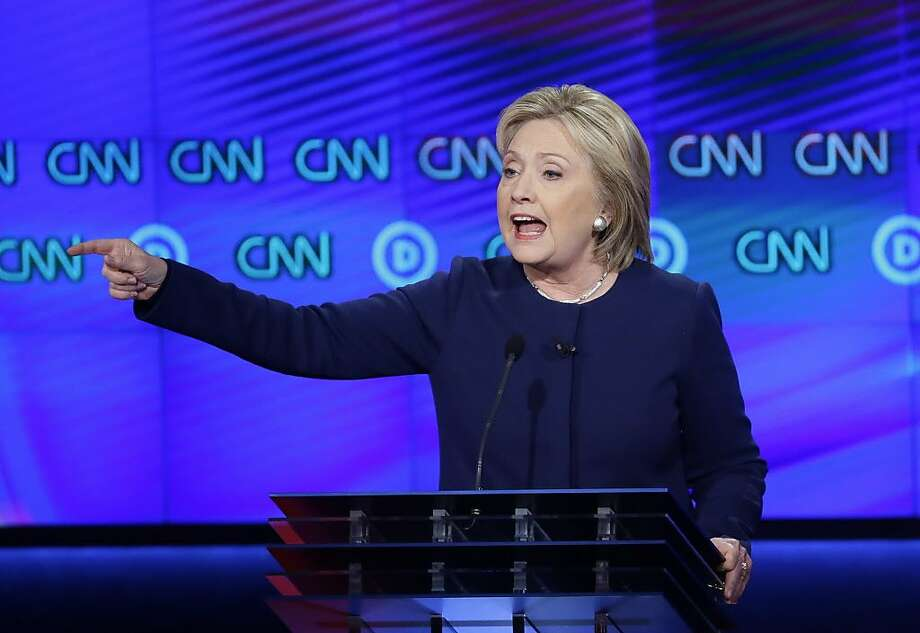Democratic presidential candidate, Hillary Clinton makes a point during a Democratic presidential primary debate at the University of Michigan-Flint, Sunday, March 6, 2016, in Flint, Mich. (AP Photo/Carlos Osorio) Photo: Carlos Osorio, AP