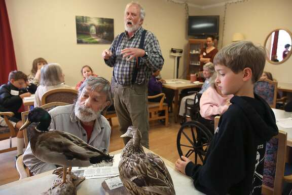 Duck expert professor Jim Cunningham (middle)of Dominican College teaches elementary students about ducks  at Bello Gardens Senior Home in San Anselmo, California, on monday, march 7, 2016.  At middle left  is Chuck Green and at right is LITA/Cascade Canyon School student Will Mulliken, 8 years old.