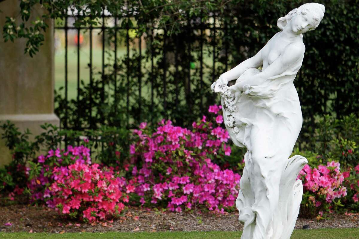 Azaleas bloom behind a statue in the yard of a home on Inwood, one of this year's stops on the River Oaks Azalea Trail.