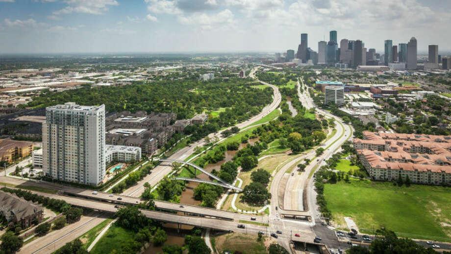 Buffalo Bayou Park looking east toward downtown. Photo: SWA Group / © 2015 Jonnu Singleton/SWA Group