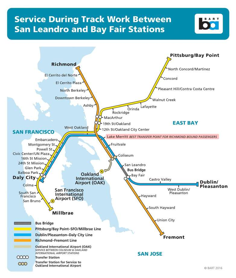 Bart San Francisco Map Stations.Bart To Shut Down East Bay Track Run Buses For 6 Weekends Sfgate