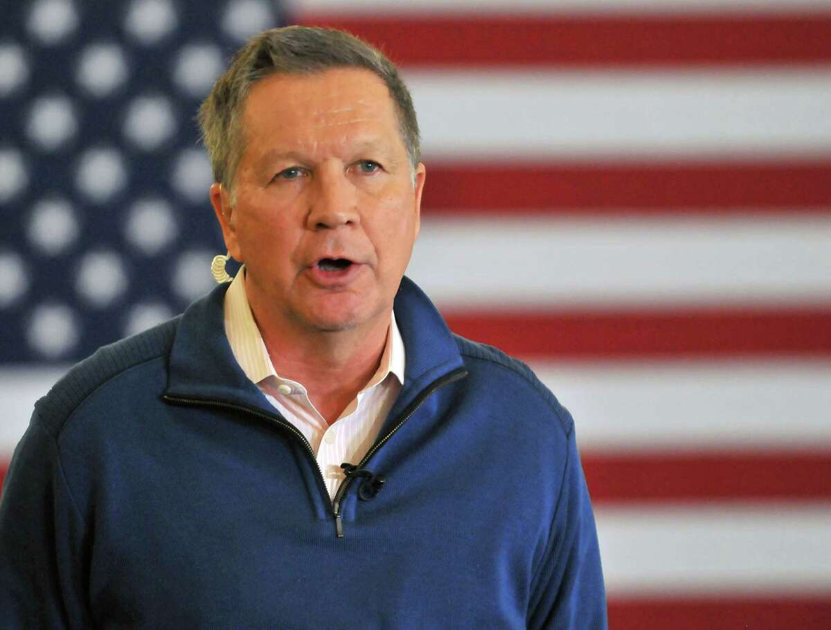 Republican presidential candidate, Ohio Gov. John Kasich speaks at a rally in Traverse City, Mich., Saturday, March 5, 2016. The Michigan primary election is Tuesday, March 8, 2016. (AP Photo - John L. Russelll)