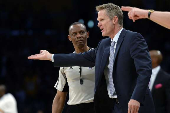LOS ANGELES, CA - MARCH 6: Head coach Steve Kerr of the Golden State Warriors reacts after receiving a technical foul after complaining on a call against the Los Angeles lakers during the second half of the basketball game at Staples Center March 6, 2016, in Los Angeles, California. NOTE TO USER: User expressly acknowledges and agrees that, by downloading and or using the photograph, User is consenting to the terms and conditions of the Getty Images License Agreement. (Photo by Kevork Djansezian/Getty Images)