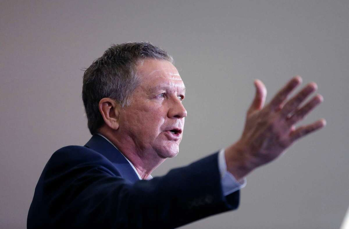 Republican presidential candidate, Ohio Gov. John Kasich speaks at a rally at the Monroe County Community College, Monday, March 7, 2016, in Monroe, Mich. (AP Photo/Carlos Osorio) ORG XMIT: MICO103