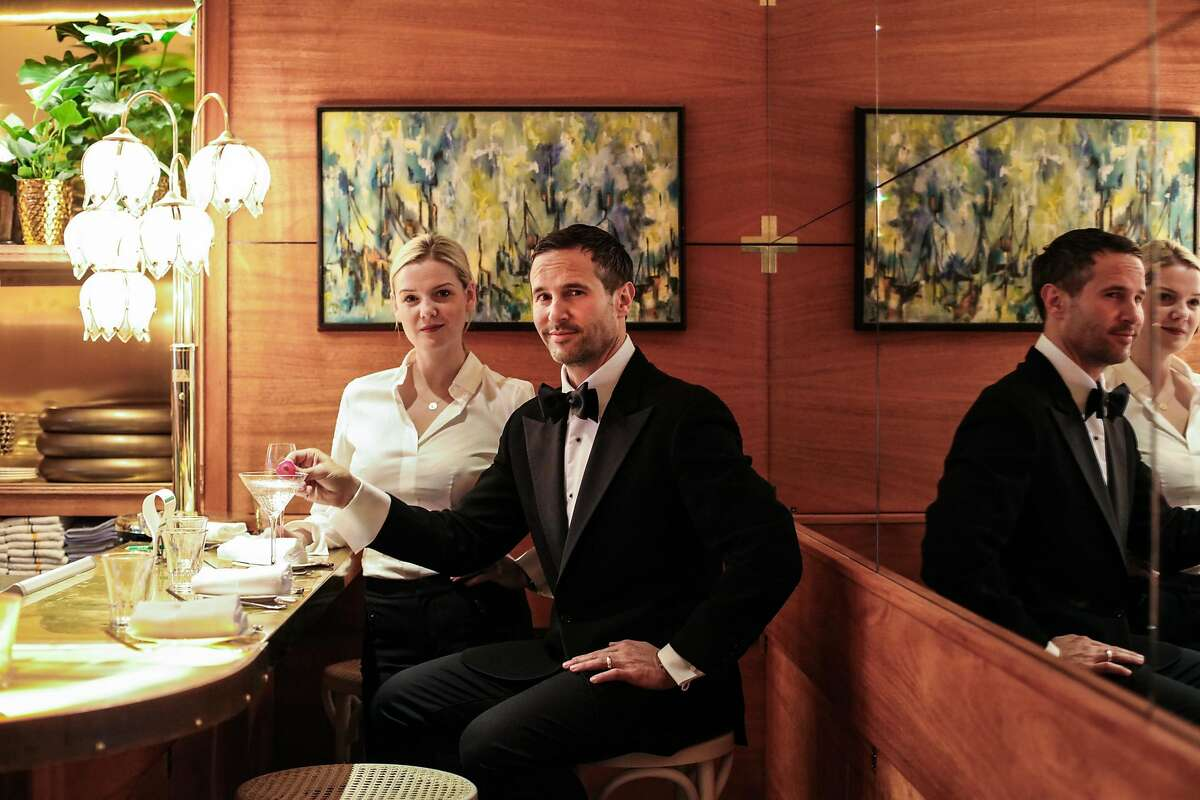 Anna Weinberg (left) and husband James Nicholas, who are own multiple restaurants, pose for a portrait at their newest spot, Leo's Oyster Bar on Friday, March 4, 2016 in San Francisco, California.
