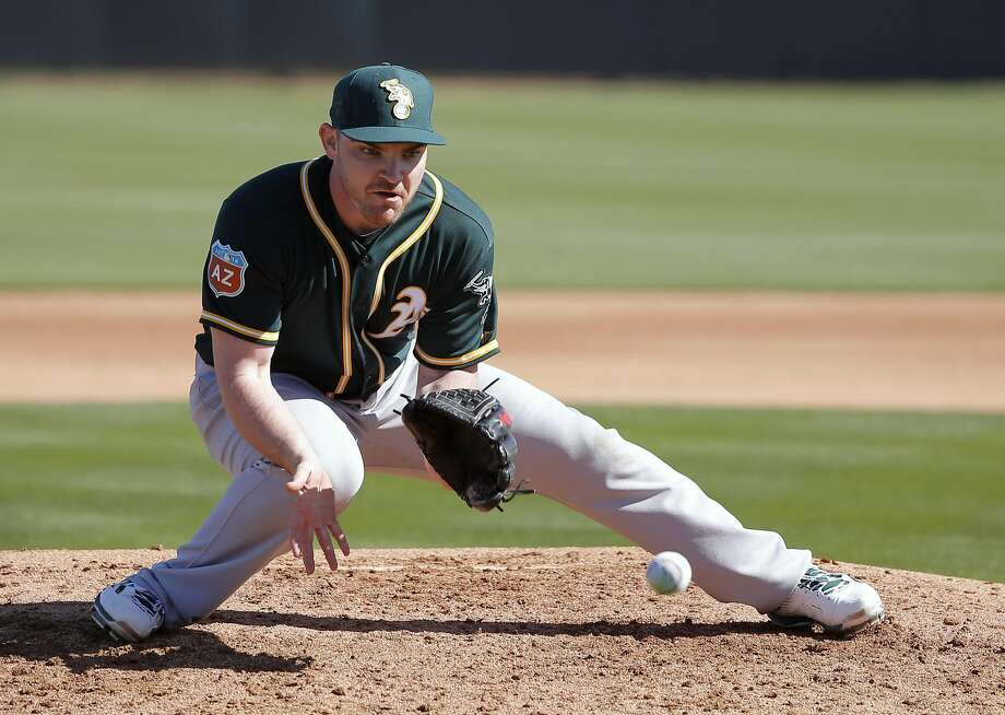 Pitcher Liam Hendriks, 31 during drills at spring training workouts for the Oakland Athletics at the Lew Wolff Training Complex in Mesa, Arizona on Thurs. February 25, 2016. Photo: Michael Macor, The Chronicle