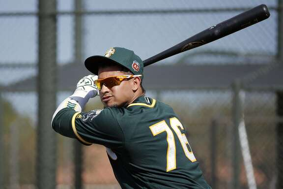 Franklin Barreto, 76 gets ready for batting practice during Oakland Athletics spring training workouts at the Lew Wolff Training Complex in Mesa, Arizona on  Saturday February 27, 2016.