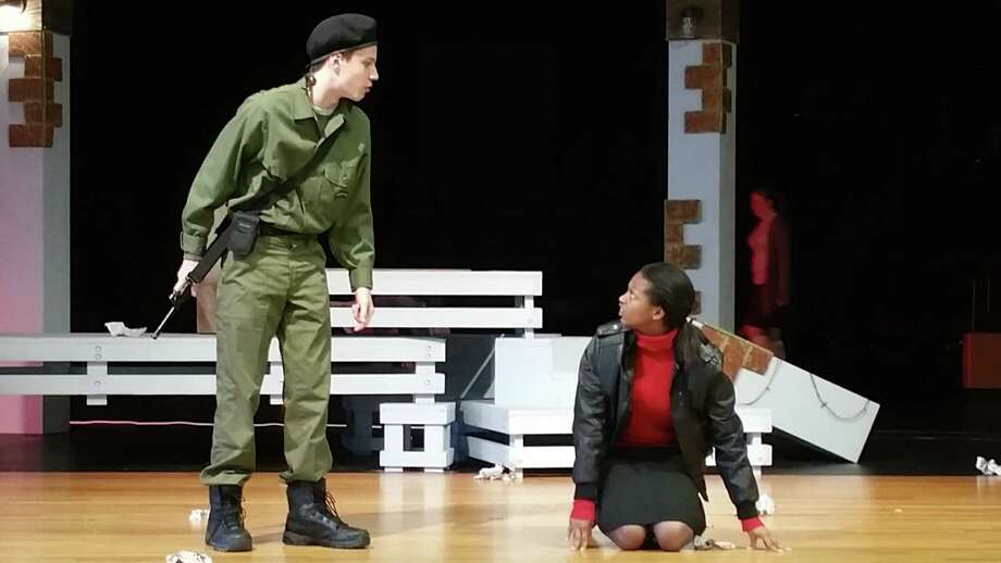 """Spencer Moodie and Erris Lovely won recognition for their performances in Berry Miller Junior High School's one-act play """"The Shape of the Grave."""""""