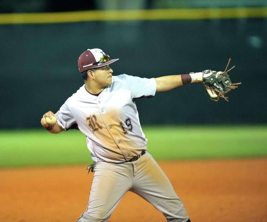 Westbury and Reagan High Schools played a baseball game at Delmar field, 2-24-2016.  Reagan third baseman Michael Palacios (18) prepares to make a play to first base. Photo: Eddy Matchette, Freelance / Freelance