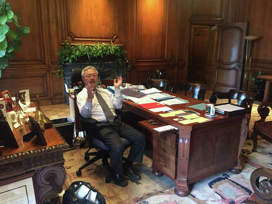 "Mayor Lee doesn't have any art on his walls because he finds the wood ""soothing."" Photo: Beth Spotswood"