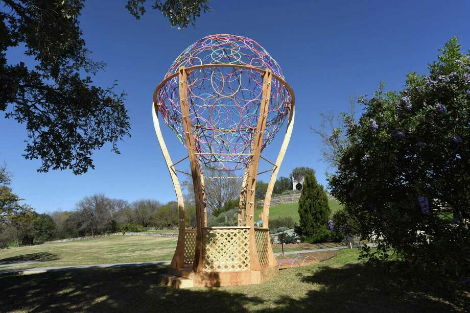 """Dr. Seuss' perennial favorite """"Oh, The Places You'll Go"""" inspired this balloon house designed by Belen Aguilar and James Olivares of PBK Architects. Yes, the """"balloon"""" is made of 250 Hula Hoops. Photo: Billy Calzada /San Antonio Express-News / San Antonio Express-News"""