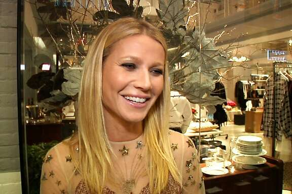 In this image taken from video, actress and blogger Gwyneth Paltow appears at the opening of her pop-up store on Wednesday, Dec. 2, 2015 in New York. Paltrow's luxury and lifestyle online venture goop turned into an actual boutique on Wednesday as the actress celebrated the opening of goop mrkt in The Shops gallery at Columbus Circle in New York. (AP Photo/Bastien Inzaurralde)