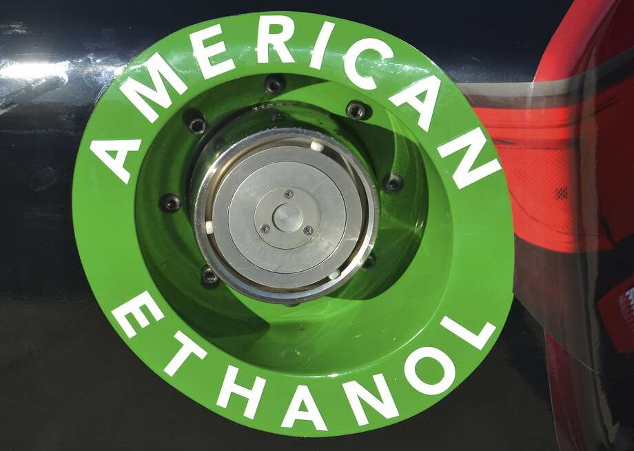 An American ethanol label is shown on a NASCAR race car gas tank at Texas Motor Speedway in Fort Worth, Texas. Photo: Randy Holt, Associated Press