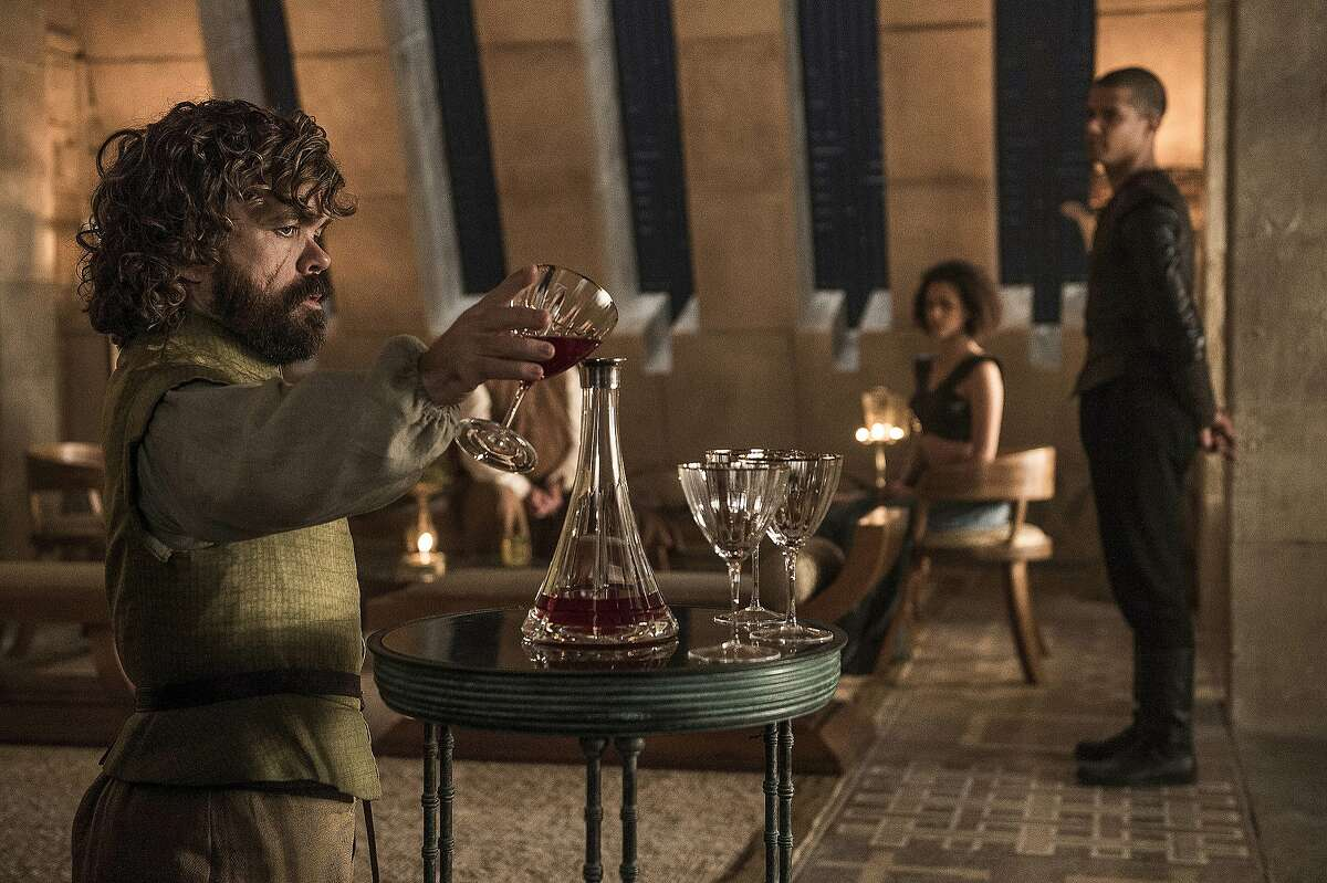 Peter Dinklage, Nathalie Emmanuel and Jacob Anderson in a scene from season six of
