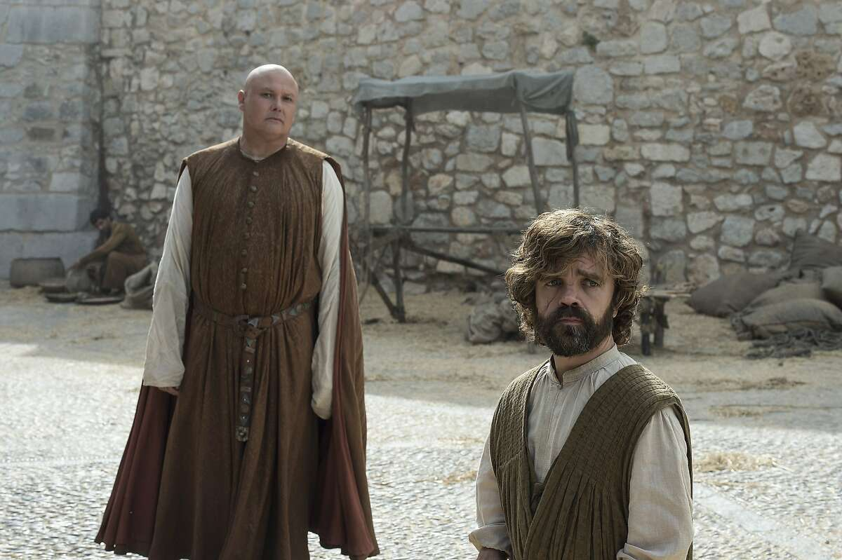 """Conleth Hill and Peter Dinklage in a scene from season six of """"Game of Thrones"""" on HBO."""