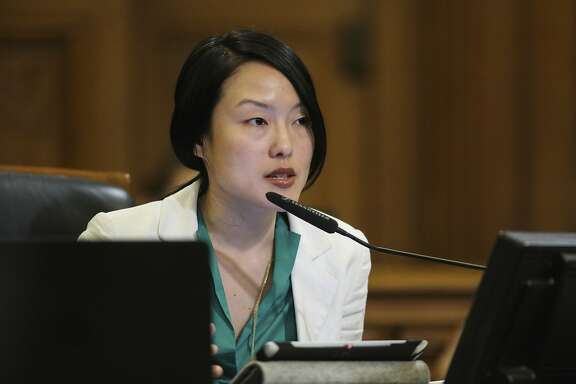 Supervisor Jane Kim discusses her thoughts allocating more money for public parks during a Board of Supervisors meeting at City Hall, in San Francisco, California on Tuesday, February 23, 2016.