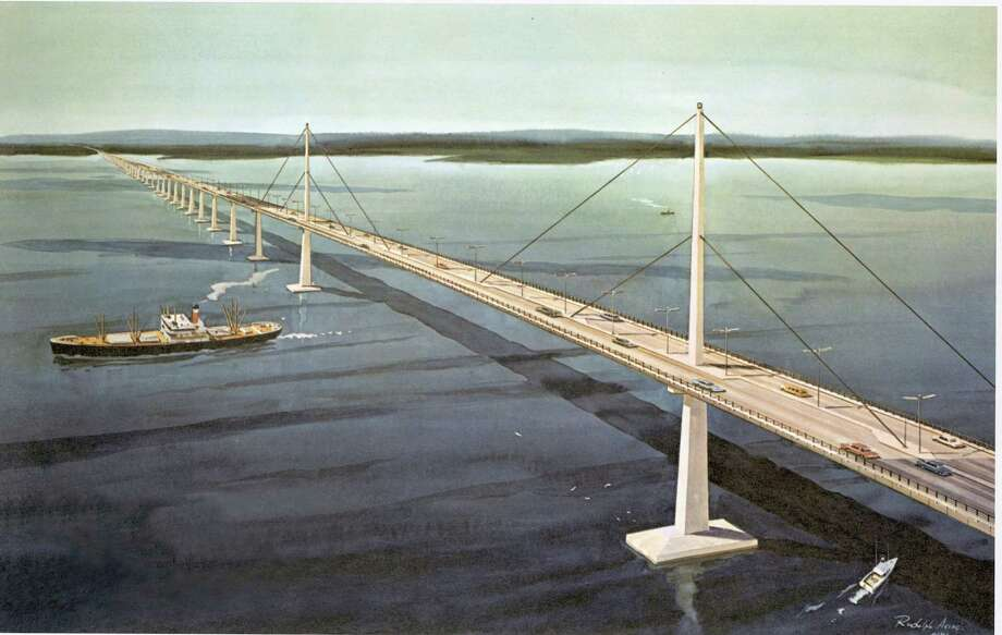 Artist's rendering of a proposed bridge from Oyster Bay, Long Island to Rye that was pushed by famed urban planner Robert Moses and late New York Gov. Nelson Rockefeller. Opposition in Westchester County and in Connecticut killed the proposal, but the idea continues to surface. Photo: Contributed Photo / Contributed Photo / Stamford Advocate Contributed