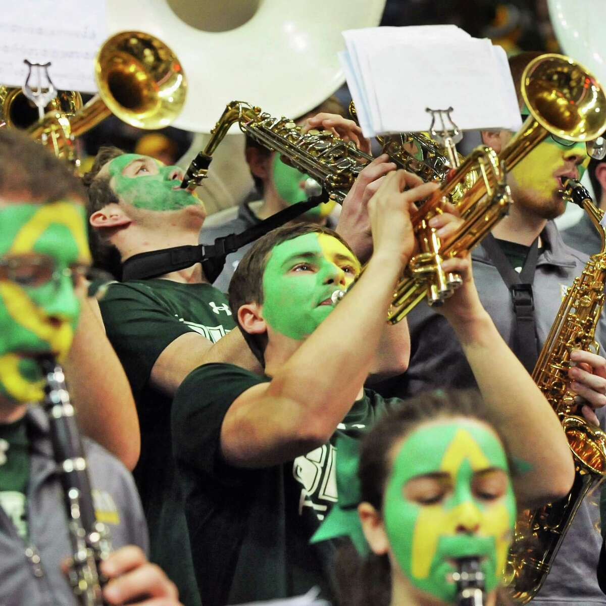 Siena's pep band performs during their MAAC tournament game against Manhattan at the Times Union Center Saturday March 5, 2016 in Albany, NY. (John Carl D'Annibale / Times Union)