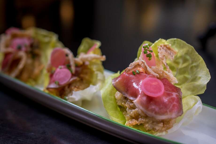 Fried Oyster with Beef Carpaccio at Liholiho�Yacht Club Photo: John Storey, Special To The Chronicle